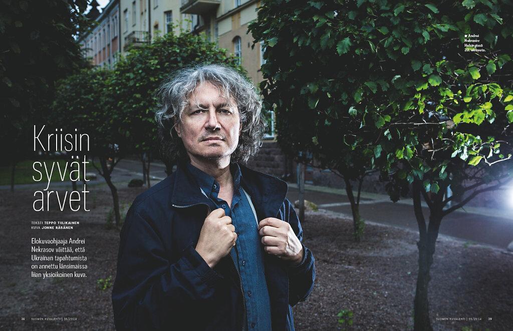 Suomen Kuvalehti, 2014. Russian film-maker Andrei Nekrasov.