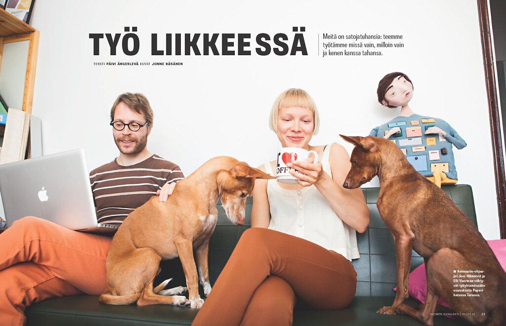 Suomen Kuvalehti, 2013. Animation artists Joni Männistö and